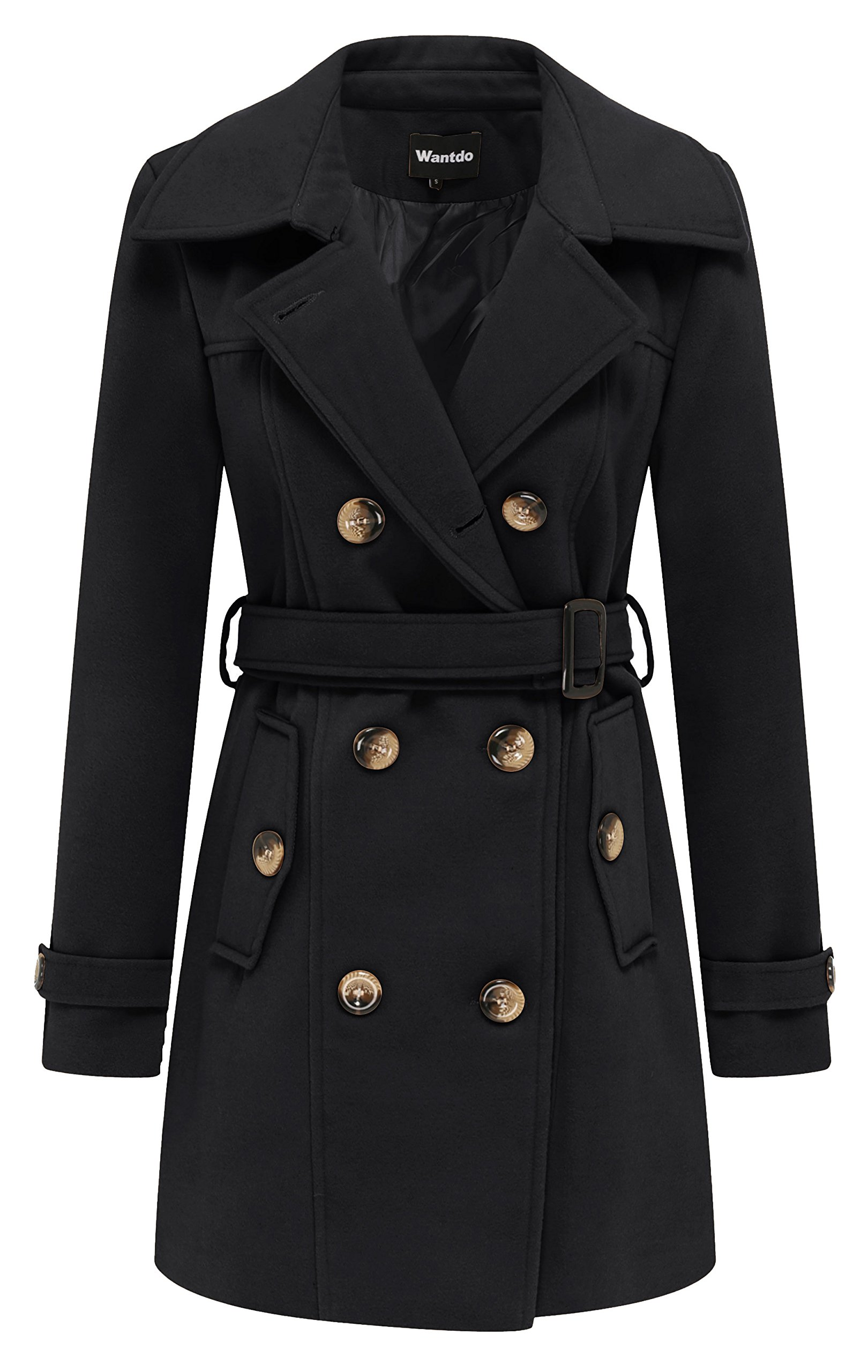 Wantdo Women's Double Breasted Pea Coat with Belt US Small Black