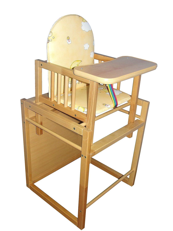 Cosing C-0115 Kombi-Hochstuhl aus Buchenholz mit Sitz gepolstert//Kinder Tisch /& Stuhl wei/ß