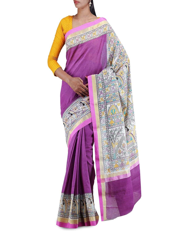 a82c3cab8edb1 Unnati Silks Women Purple-cream pure Rajkot cotton Madhubani plain Saree   Amazon.in  Clothing   Accessories