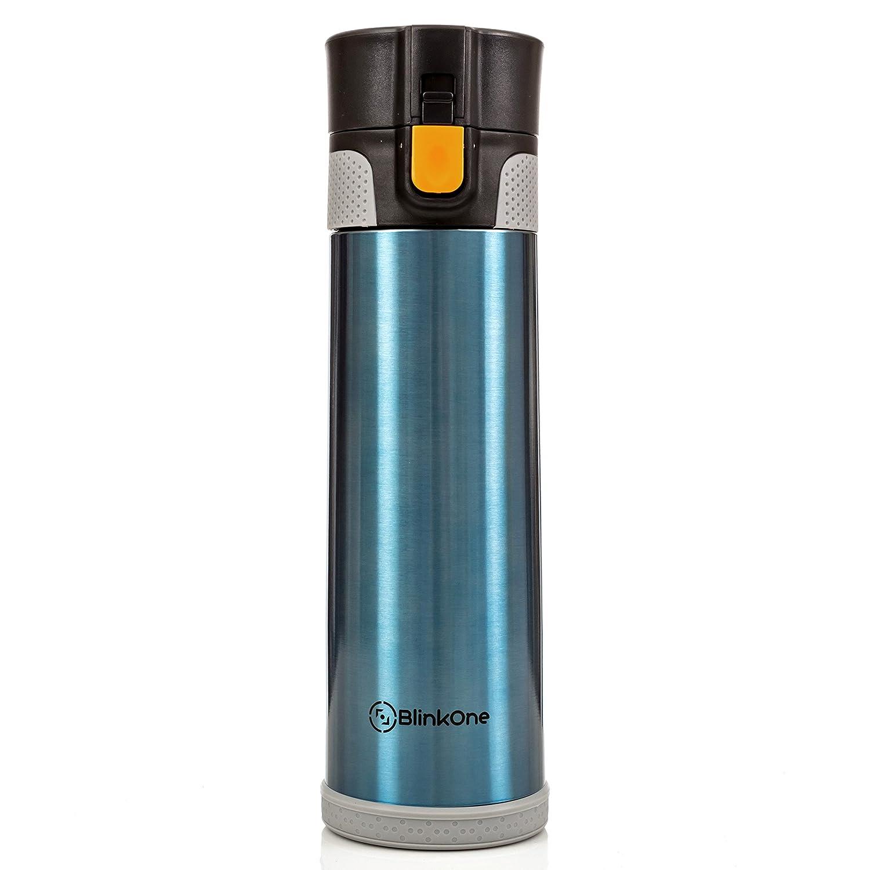 BlinkOne Travel Mug: Stainless Steel Leak Proof Vacuum Water Beverage Bottle with Flip-on Lip for Men and Women; Coffee and Tea Friendly (16 oz)