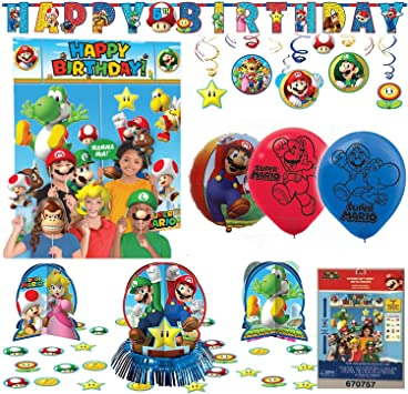 Kit De Decoración Para Fiesta De Cumpleaños Super Mario Bros Office Products
