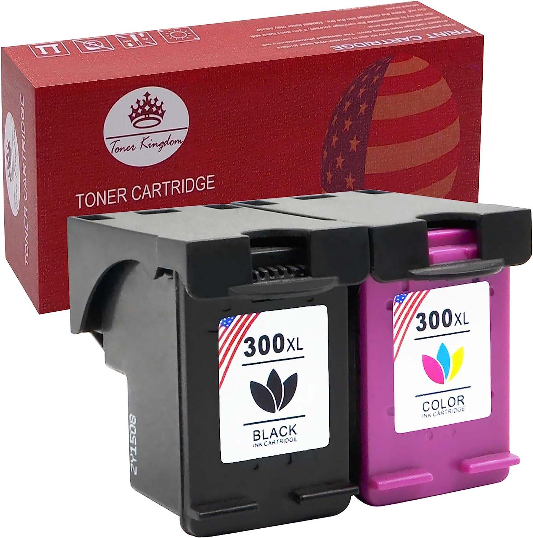 Toner Kingdom 2 Paquete Alto rendimiento Por HP 300XL Cartuchos de tinta Compatible Por HP Photosmart 4690 4750 C4600 D110a Envy 110 114 120 100 Deskjet 2410 2418 2423 2430 D1600 D1650