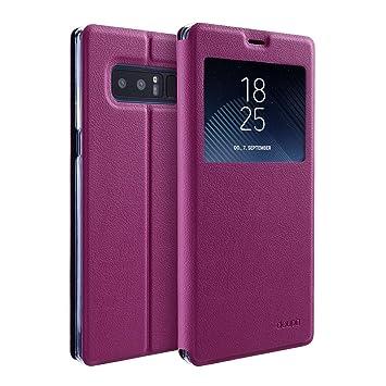 doupi Deluxe Ventana FlipCover para Samsung Galaxy Note 8, Carcasa Case magnético Funda Caso tirón Estilo Libro Protector de Cuero Artificial, Rojo