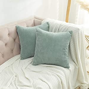 Volcanics Striped Corduroy Velvet Decorative Throw Pillow Covers Set of 2 Soft Solid Square Couch Pillow Cover Case Cushion Pillowcase 18x18 Inches for Home Decor Sofa Bedroom Car, Duck Egg Blue