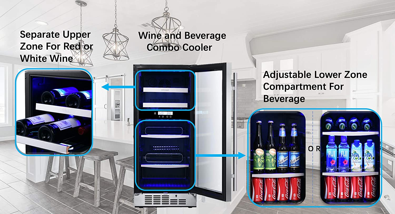 Titan 15 inch 8-bottle and 44-can Built in Dual Zone Wine and Beverage Cooler Temp Memory Function Stainless Steel Door Introductory Discount Wine Shelf/&Adjustable Glass Shelf Door-Left-Open /&High Temp Alarm