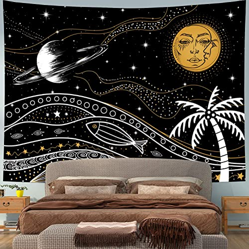 Moon and Sun Tapestry Coconut Tree Tapestry Starry Sky Tapestry Planet Tapestry Psychedelic Tapestry Hippy Celestial Tapestry Wall Hanging for Bedroom Living Room Dorm XLarge, Coconut tree sun moon