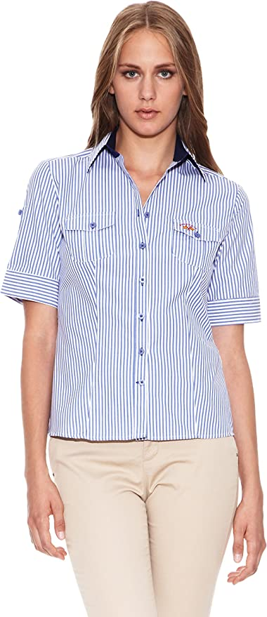 Spagnolo Camisa Popelin Dona Blanco/Azul XS: Amazon.es: Ropa