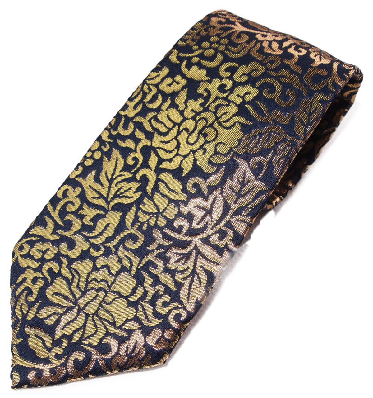 "Real Gold (Blue) Four Seasons Handmade Men's Japanese Kimono Pattern Luxury Brocade Necktie (3.3"" x 56"") by Four Seasons"