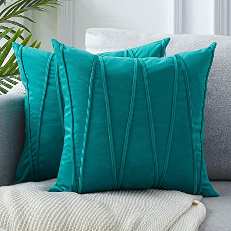 Top Finel Juegos 2 Hogar Cojín Terciopelo Suave Decorativa Almohadas Fundas de Color Sólido para Sala de Estar sofás 40x40cm Verde Menta