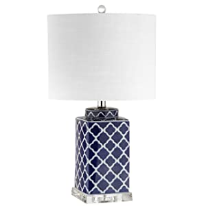 "Clarke 23"" Chinoiserie LED Table Lamp, Blue/White, Classic, Traditional, Bulb Included"