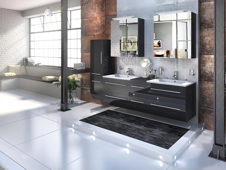Bad11® - Badmöbelset ZESIRO in Hochglanz schwarz - 4 teiliges Komplettset mit Doppelwaschbecken inklusive Keramik-Waschbecken, Hochschrank bietet viel Stauraum, 2 x Spiegelschrank, Farbauswahl