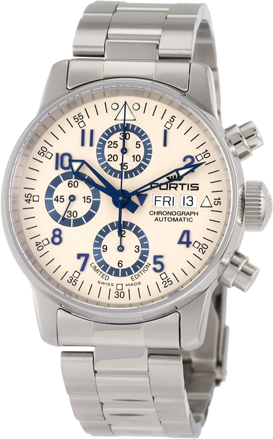 Fortis Men s 597.20.92 M Flieger Chronograph Limited Edition Stainless Steel Watch with Blue Accents