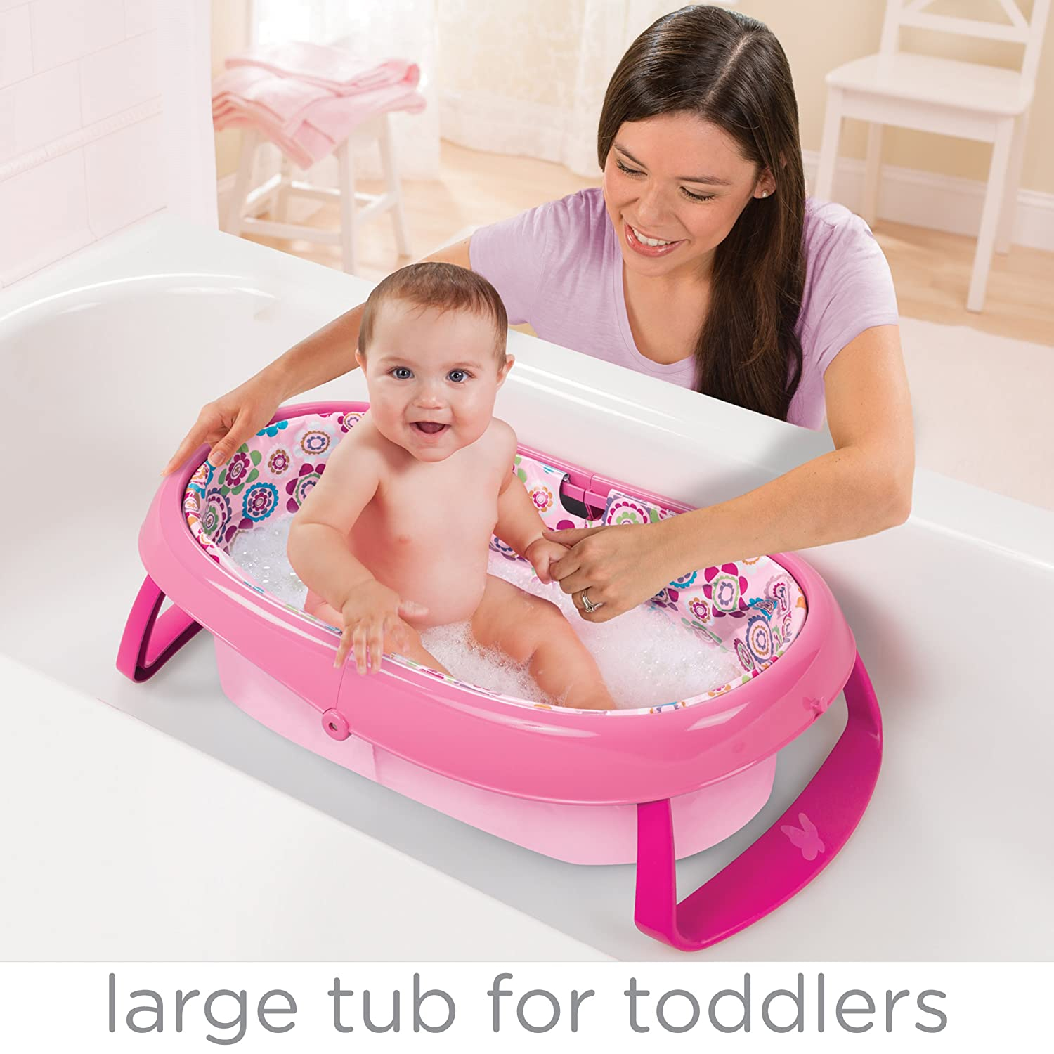 Amazon.com : Summer Infant EasyStore Comfort Tub, Pink : Baby
