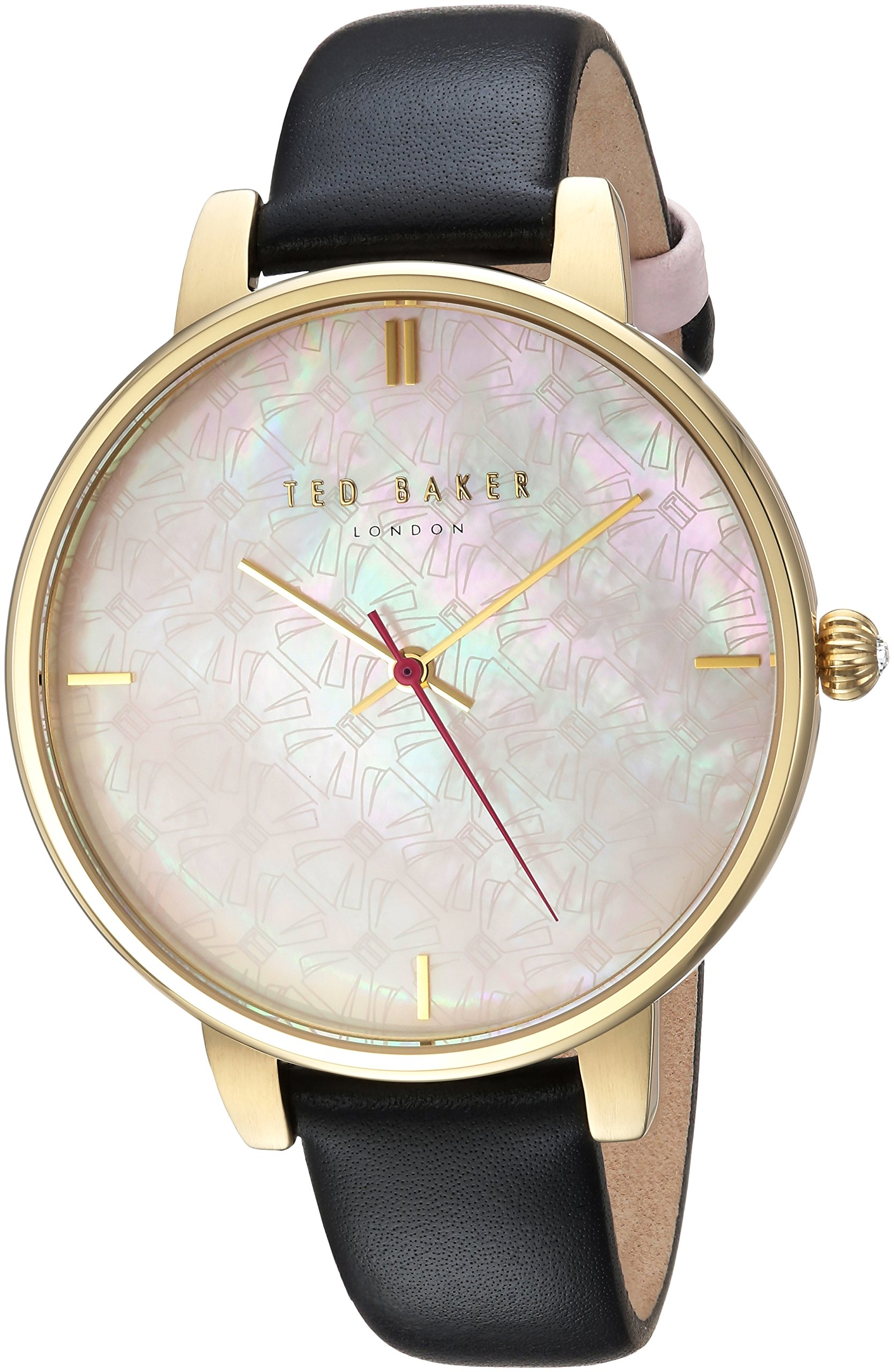 Ted Baker Women's 'KATE' Quartz Stainless Steel and Leather Casual Watch, Color:Black (Model: TEC0025009)