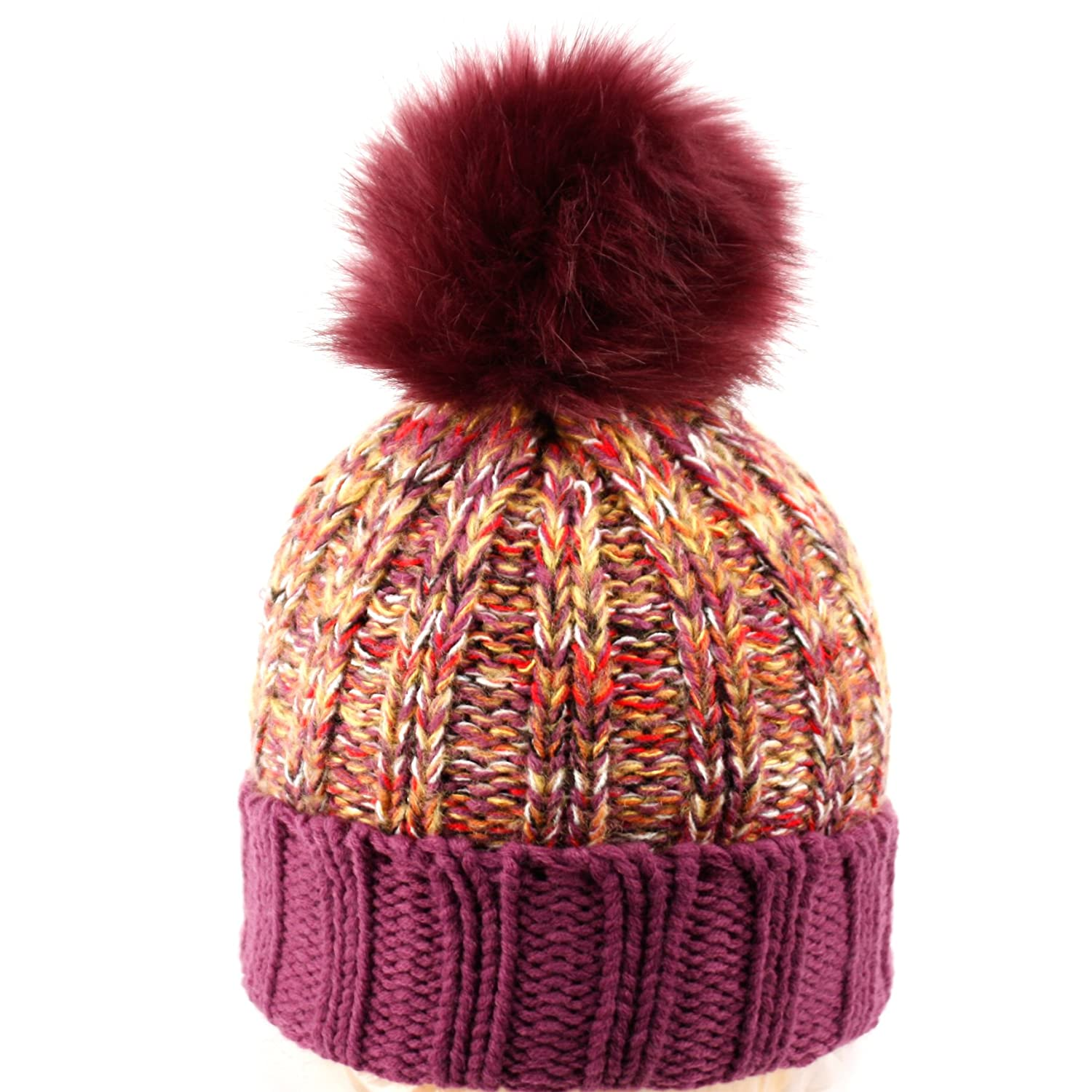 ae0fe172cd8 BN2130 Multi Color Pom Pom Crochet Thick Knit Slouchy Beanie Beret Winter  Ski Hat (A PURPLE) at Amazon Women s Clothing store
