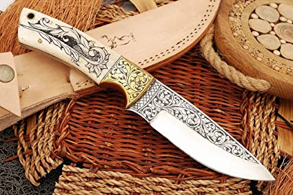 Amazon Com Handmade Bone Handle Steel 10 Inch Knife Carving Beautiful Work On Blade And Handle Sports Outdoors