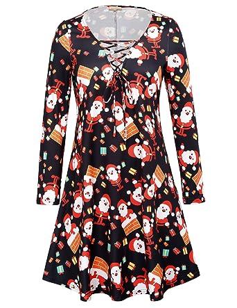 f5416b33f43 Santa Claus Print A-line Swing Tunic Mini Dress for Juniors Size XL ...