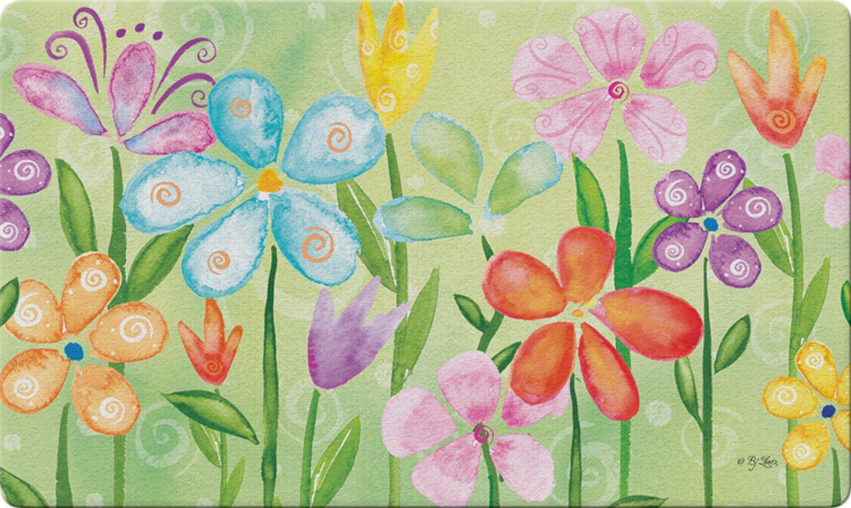 Toland Home Garden Spring Blooms 18 x 30 Inch Decorative Floor Mat Flower Colorful Floral Doormat