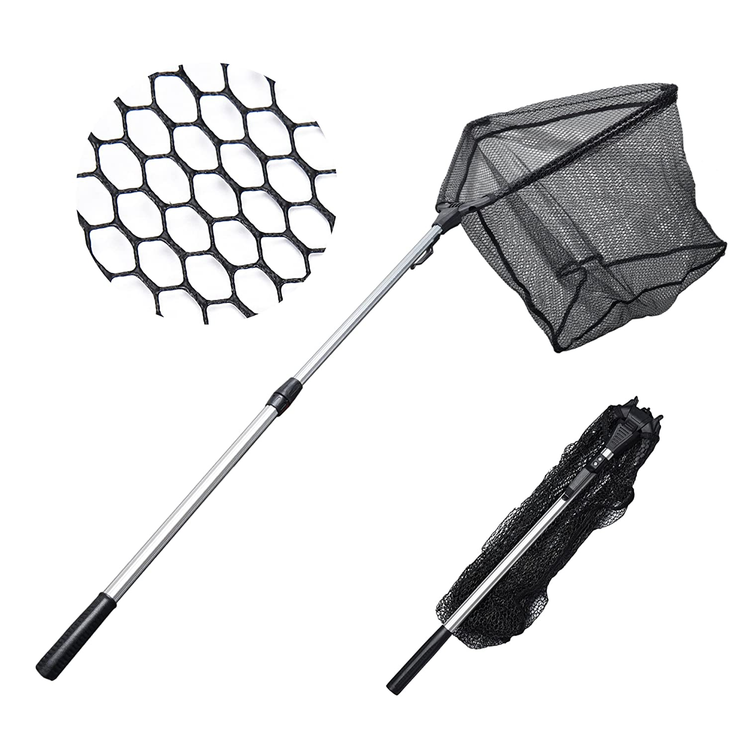 amazoncom madbite fishing net safe catch release fish landing net foldable telescoping durable strong yet light weight sports outdoors