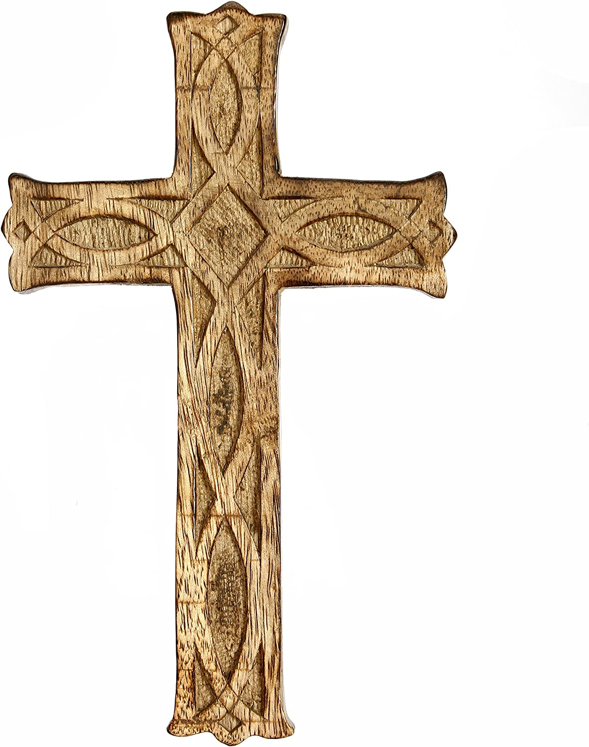 "Hosley Wooden Cross 8"" Long. Ideal Gift or Decoration for Home, Weddings, Party, Spa, Meditation, Home Office, Spa, Dorm"