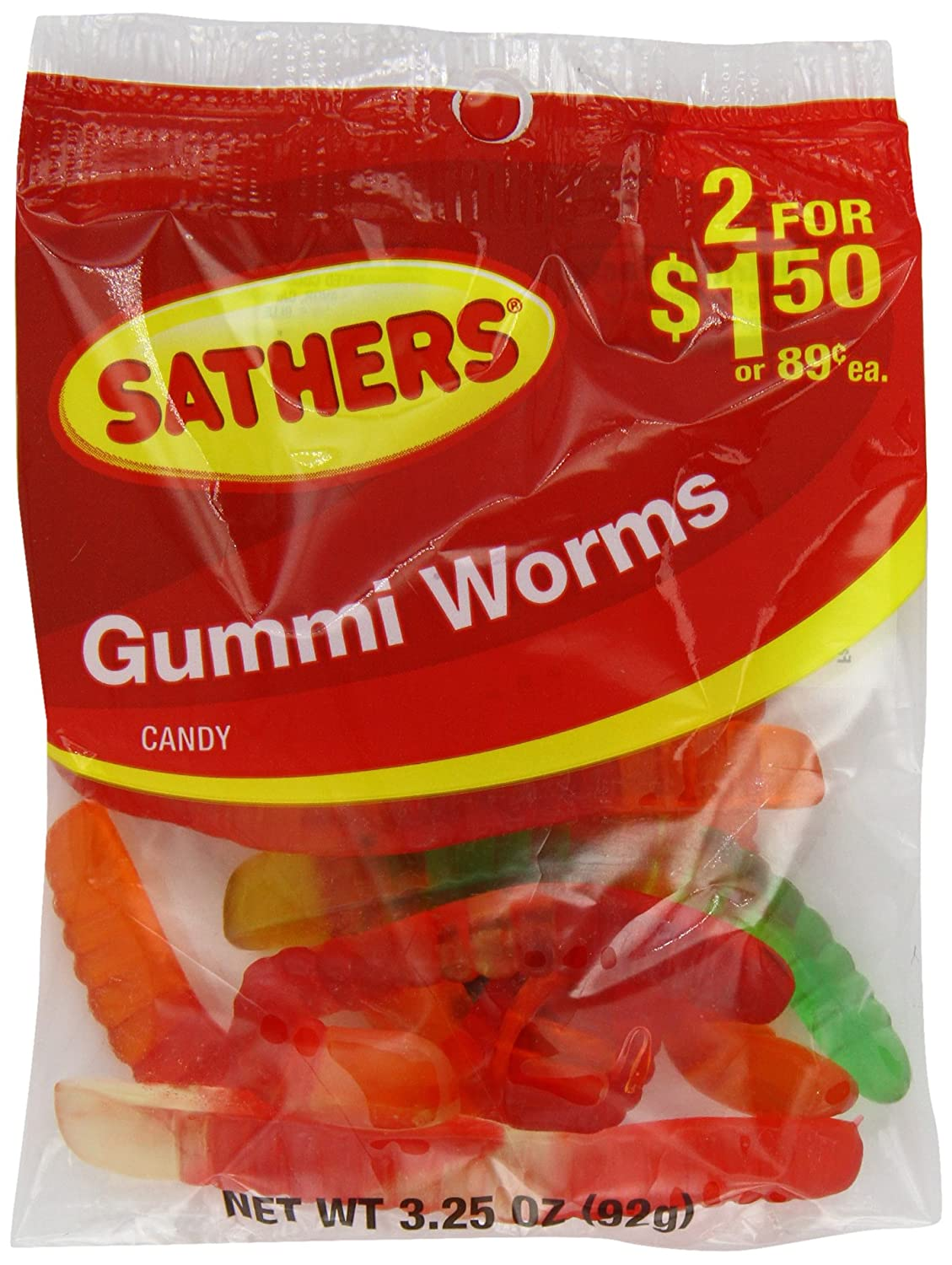 Farley's & Sathers Candy, Gummy Worms, 3.25 Ounce, Pack of 12
