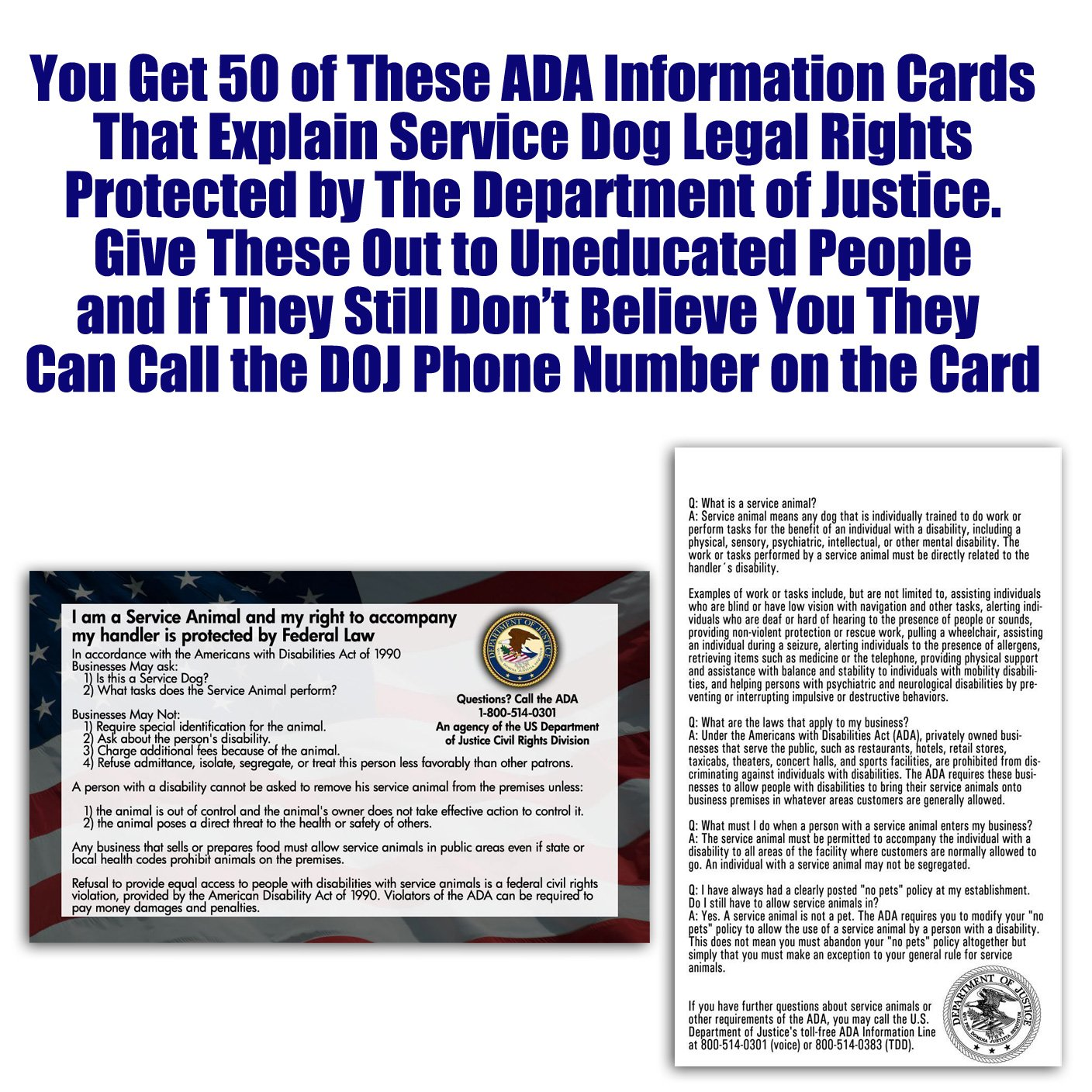 Service Dog Cards - 50 ADA Service Dog Information Cards State Your ...