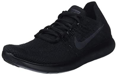da632eb4c02f Nike Women s Free RN Flyknit 2017 Running Shoe Black Anthracite-Anthracite  8.0