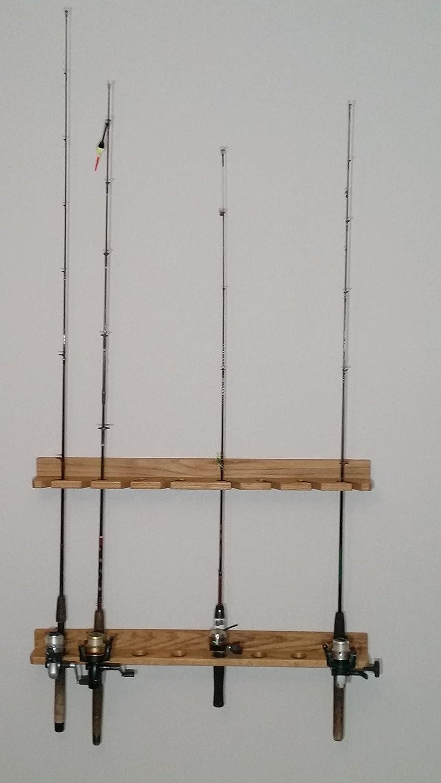 国内最安値! ソリッドOak木製釣りロッドラック B01LMTET7W B01LMTET7W, iraka-イラカ-:4799078f --- kickit.co.ke