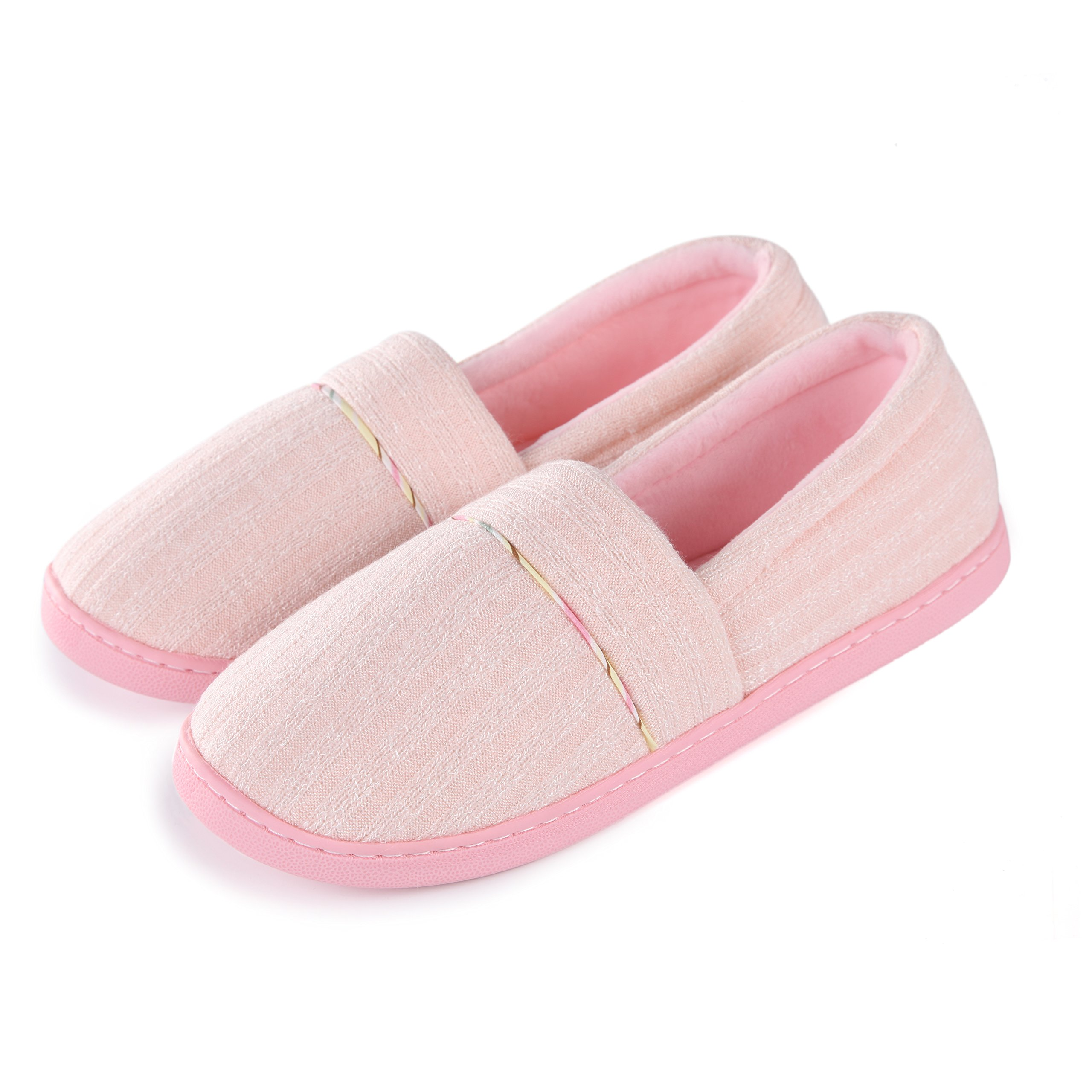 Cellicigal Women Cotton Knit Anti-Slip Comfort Indoor Slippers Slip-On Bedroom Home Shoes (8-8.5, Pink)