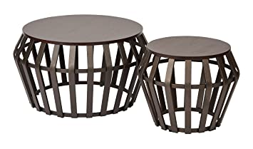 Office Star Solana 2 Piece Round Accent Table Set, Metal Frame And Espresso  Wood Finish