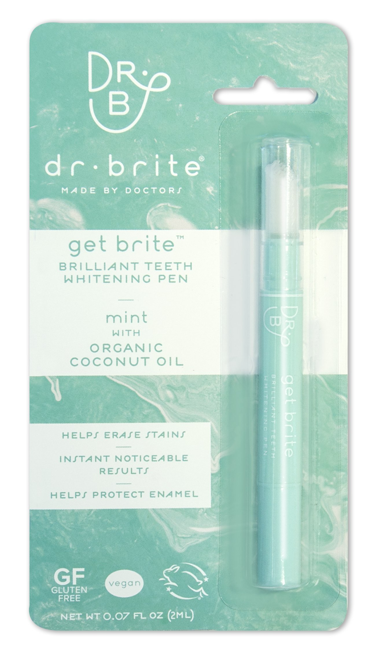 Dr. Brite Teeth Whitening Pen, Get Brite with Mint Organic Coconut Oil, 0.07 Fluid Ounce