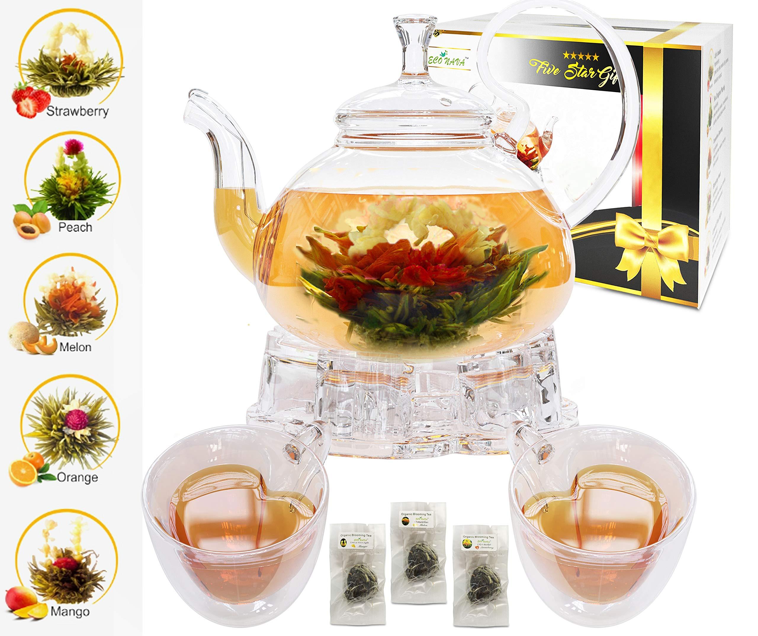 Five Star Gift Flower Tea Gift Box set: 750ml teiera in vetro con filtro infusore, sentito scaldino di vetro, 2set di udito tazza a doppia parete e 5fioritura fioritura tè verde palle