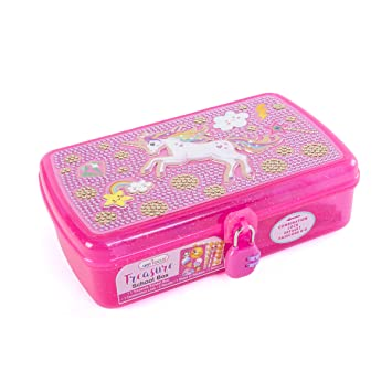 Hot Focus Treasure School Box with Lock – Unicorn Girls Pencil Case Box Includes Pencils,
