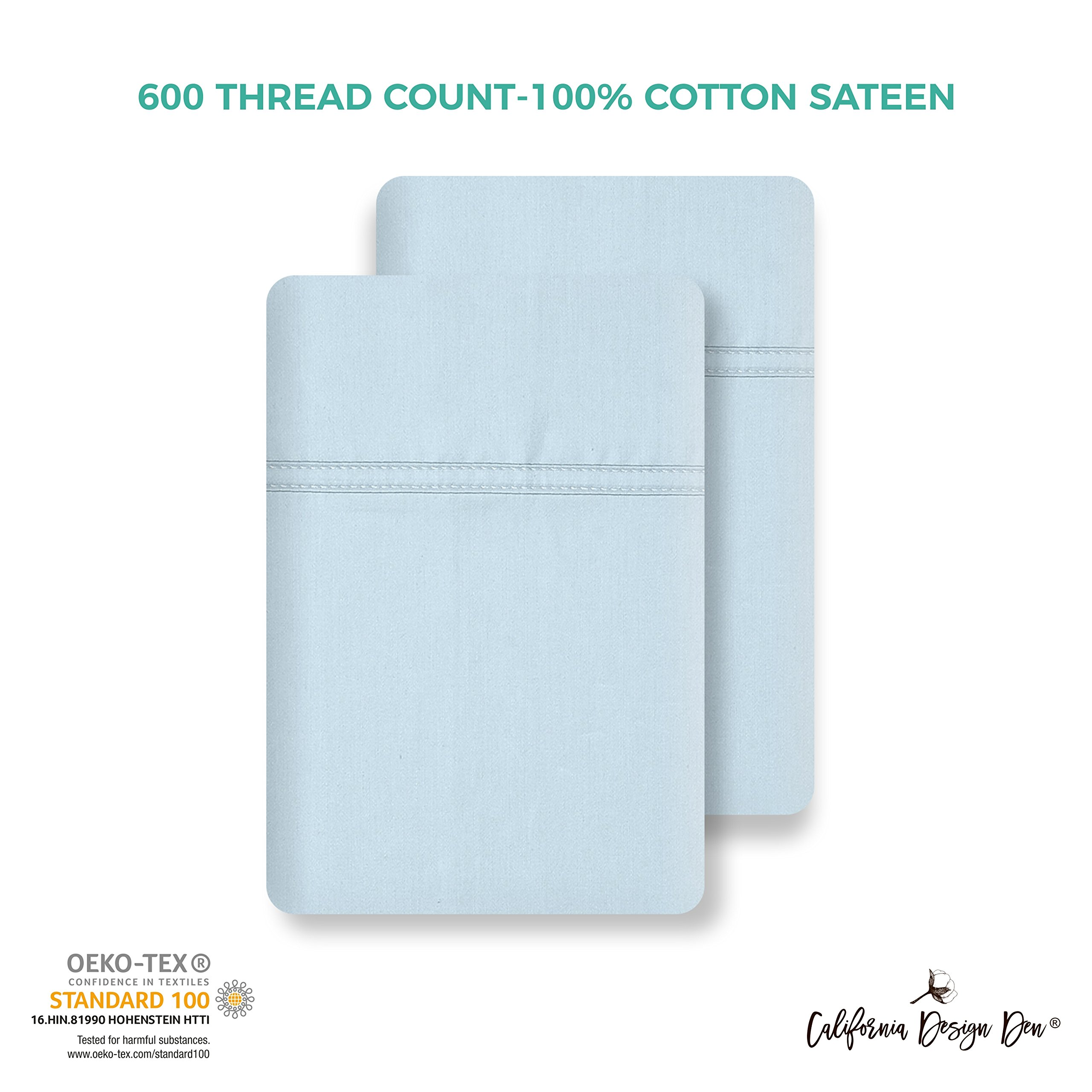 California Design Den 600 Thread Count Pillowcase Set of 2, 100% Long-Staple Combed Cotton, Breathable, Soft Sateen Weave Luxury Hotel Quality Pillow Cases (Standard, Spa) by California Design Den (Image #2)