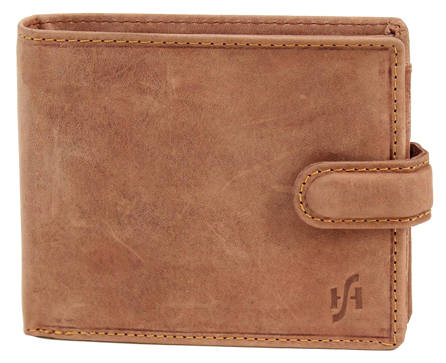 STARHIDE Mens RFID Blocking Genuine Leather Twin ID Card and Coin Pocket Wallet 1213