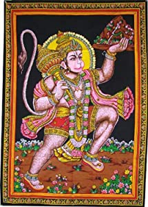 Craft N Copper Cotton Tapestry 40 x 30 inch Indian Deity for spritual & Decoration Purpose (Hanuman G)