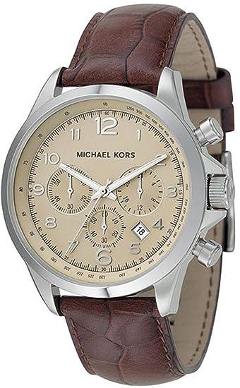 MICHAEL KORS MK8115 - Reloj analógico de cuarzo para hombre con correa de piel, color marrón: Michael Kors: Amazon.es: Relojes
