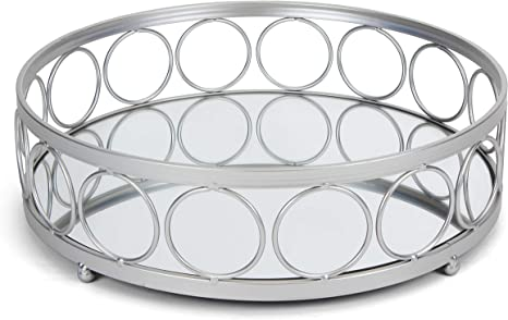 Amazon Com Rutledge King Ottoman Tray Silver Mirror Tray Decorative Round Metal Tray Ornate Coffee Table Tray Serving Tray Chantilly Designer Tray Large Home Kitchen