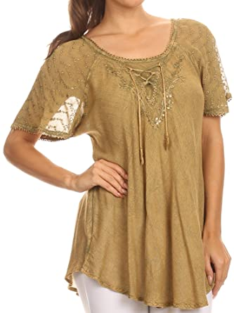28147b49fac5a Sakkas Ellie Sequin Embroidered Cap Sleeve Scoop Neck Relaxed Fit Blouse at  Amazon Women s Clothing store
