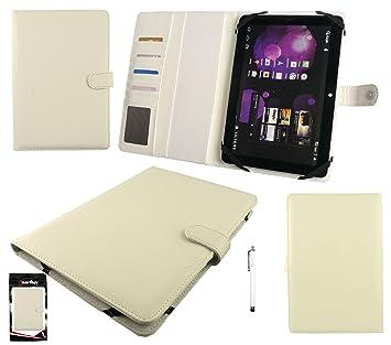 Emartbuy® Blanco Stylus + Blanca Universal Básico Wallet Case Carcasa Funda con Las Ranuras para Tarjeta Conveniente para BQ Edison 2 10.1 Pulgadas ...