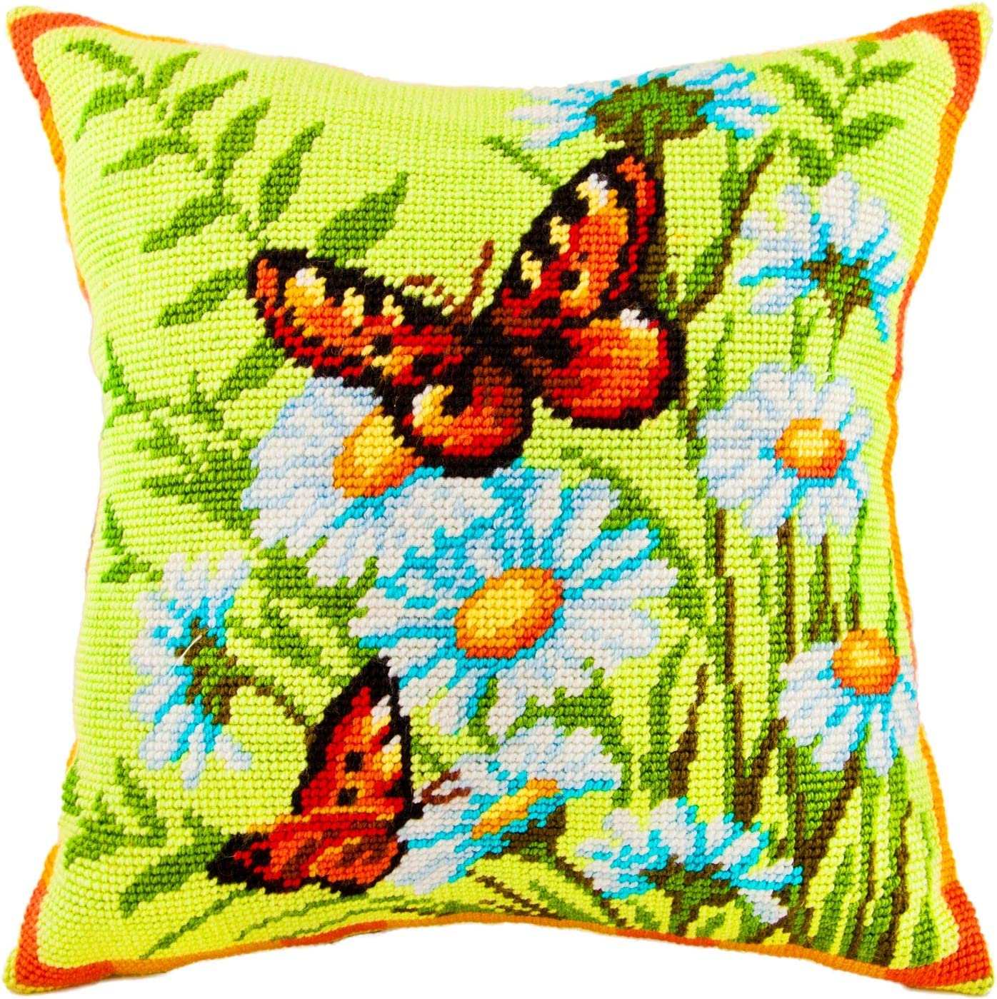 Throw Pillow 16/×16 Inches Daisies and Turquoise Printed Tapestry Canvas European Quality Needlepoint Kit