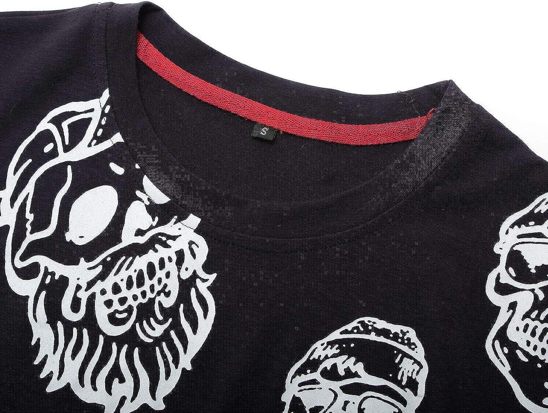 IYFBXl Spring and Summer Mens Short-Sleeved t-Shirt Cotton Cartoon Printed Short-Sleeved Shirt FM340