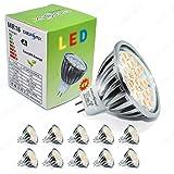 Energmix 10x MR16 GU5.3 4W 400lm Warmwei SMD LED SPOT Lampe - LED Strahler- LED Energiespar Lampe Warmlicht Mit Schutzglas 12 Volt 4 Watt, 2380-10x