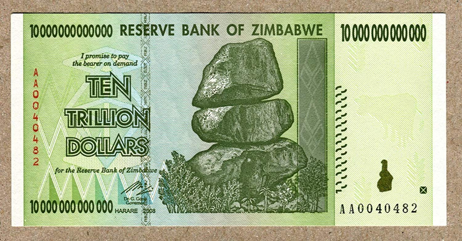 Zimbabwe 10 Trillion Dollar Extremely Niedrig Serial AA00... Note Bill Money Inflation Record Currency Banknote by Zimbabwe Central Bank
