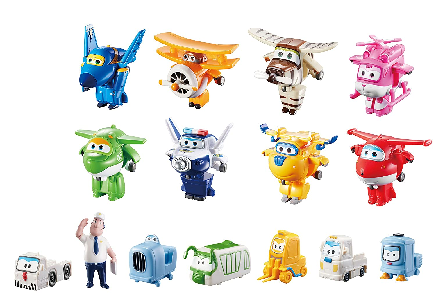 Super Wings Transform-a-Bots World Airport Crew | Collector Pack | 15 Toy Figures | 2 Scale Auldey (Domestic) US710640