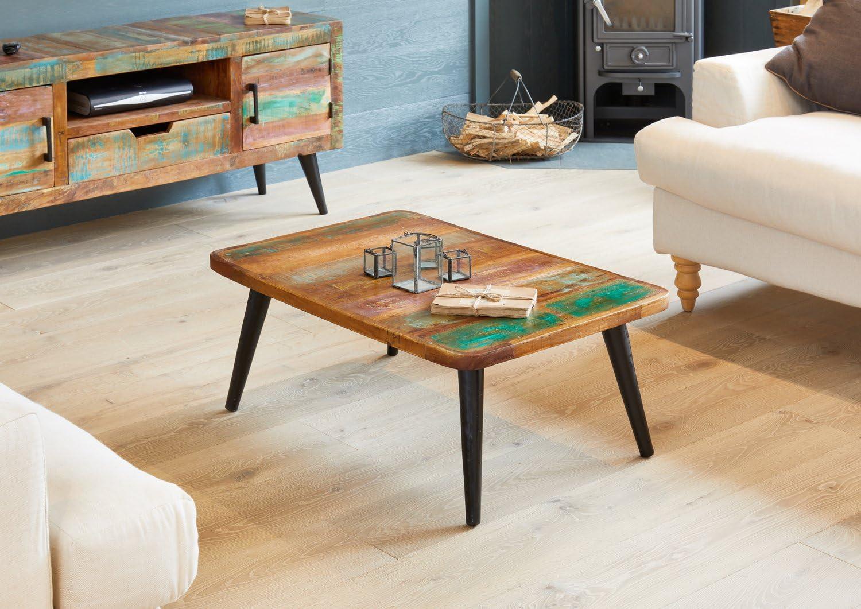 - Baumhaus Coastal Chic Coffee Table - Reclaimed Wood - Iron Legs