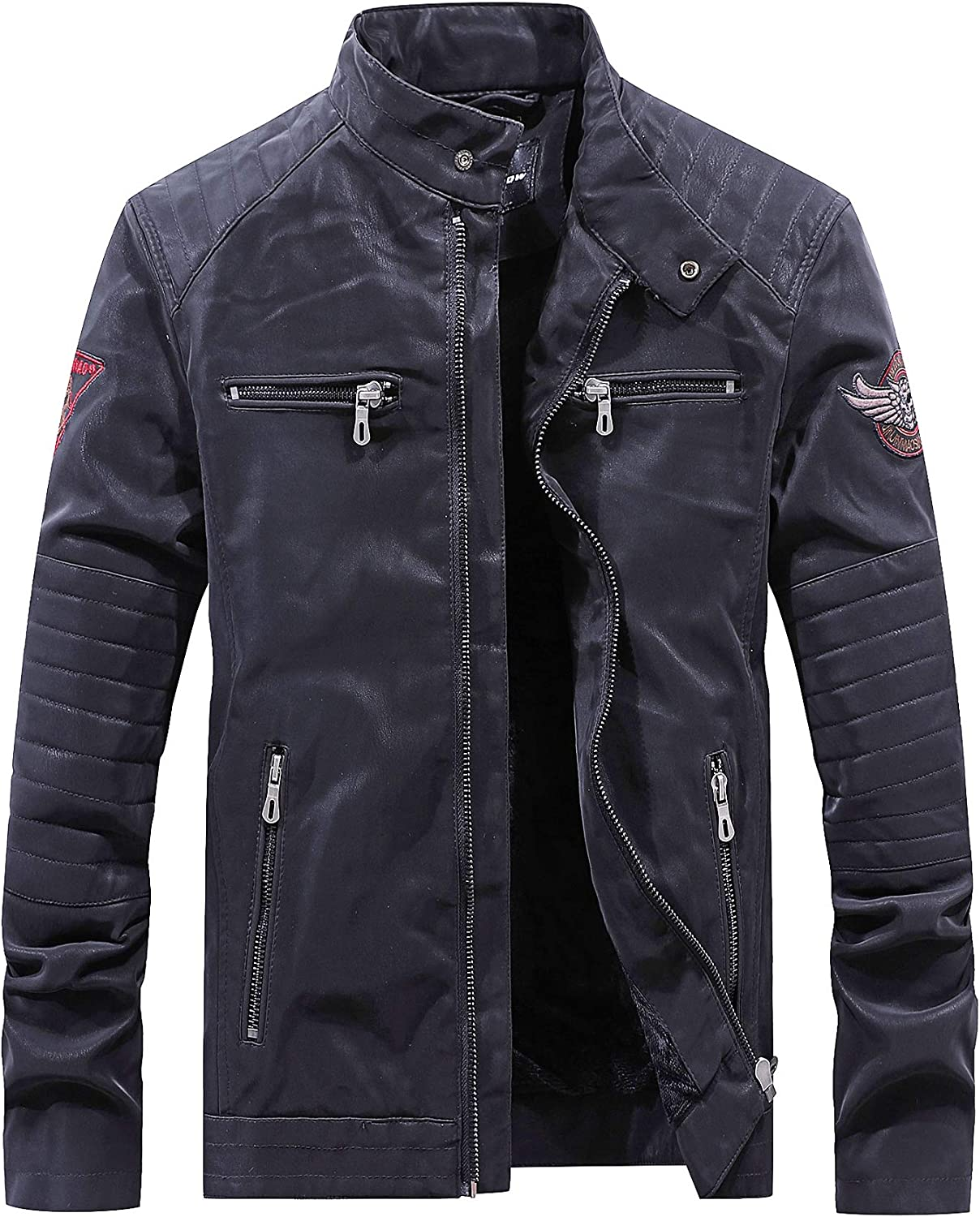 JINJINNIAO Mens Faux Leather Full Zip Thick Jacket 8806 Series
