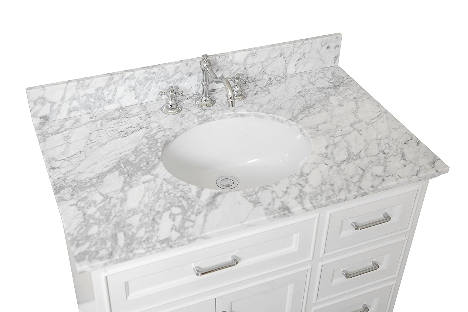 Aria 36-inch Bathroom Vanity (Carrara/White): Includes A White Cabinet With  Soft Close Drawers, Authentic Italian Carrara Marble Countertop,