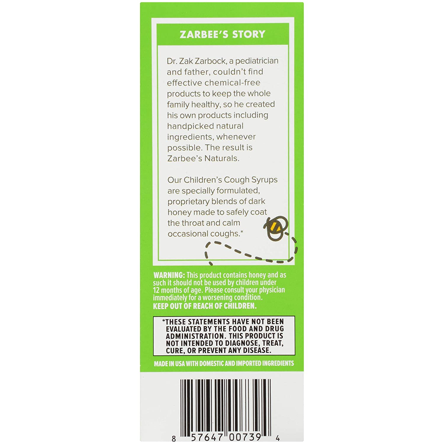 Zarbee's Naturals Children's Cough Syrup + Mucus with Dark Honey & Ivy Leaf  Daytime & Nighttime,