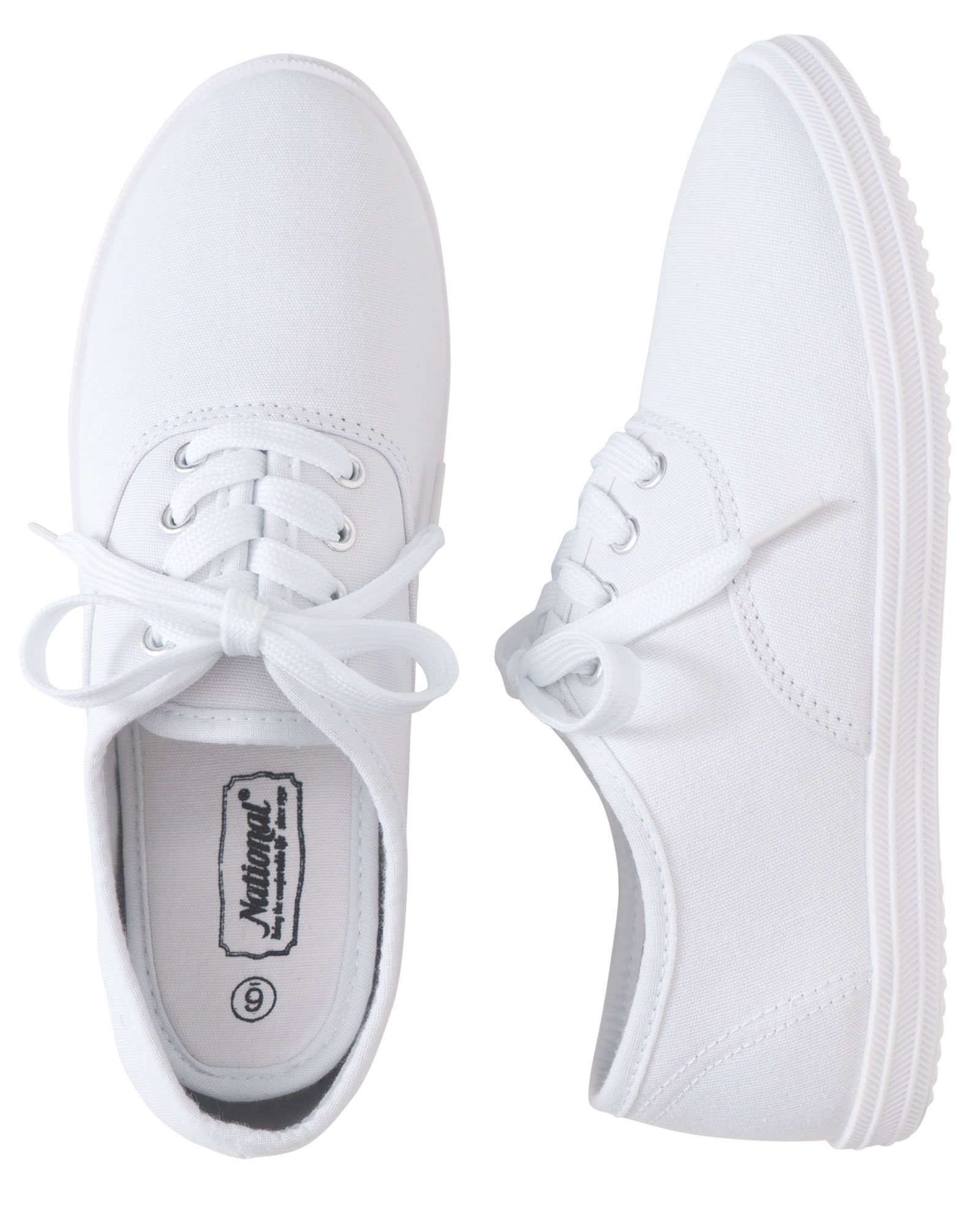 National Classic Canvas Sneakers, White, 8 1/2M